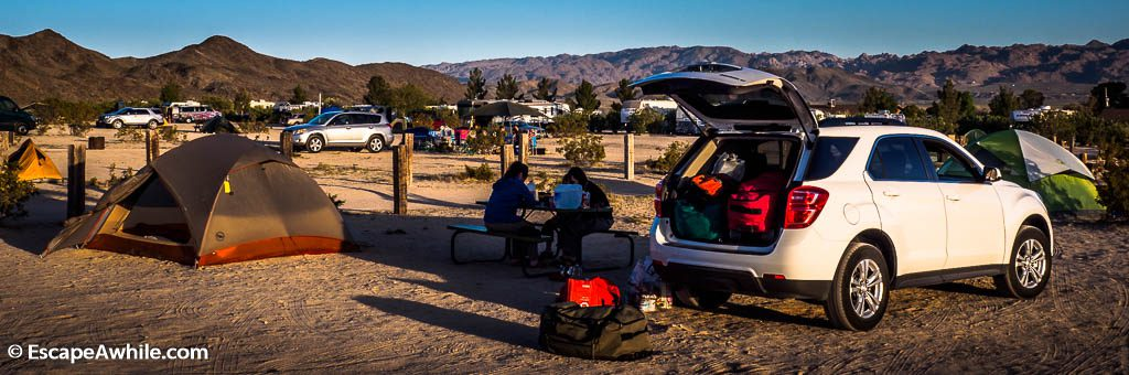 Since all of the national park campsites are fully booked, we end up in overflow private camground at Joshua Lake RV park.