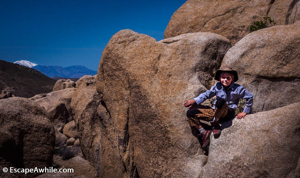 Numerous rock formations are a prime playground for a young explorer.