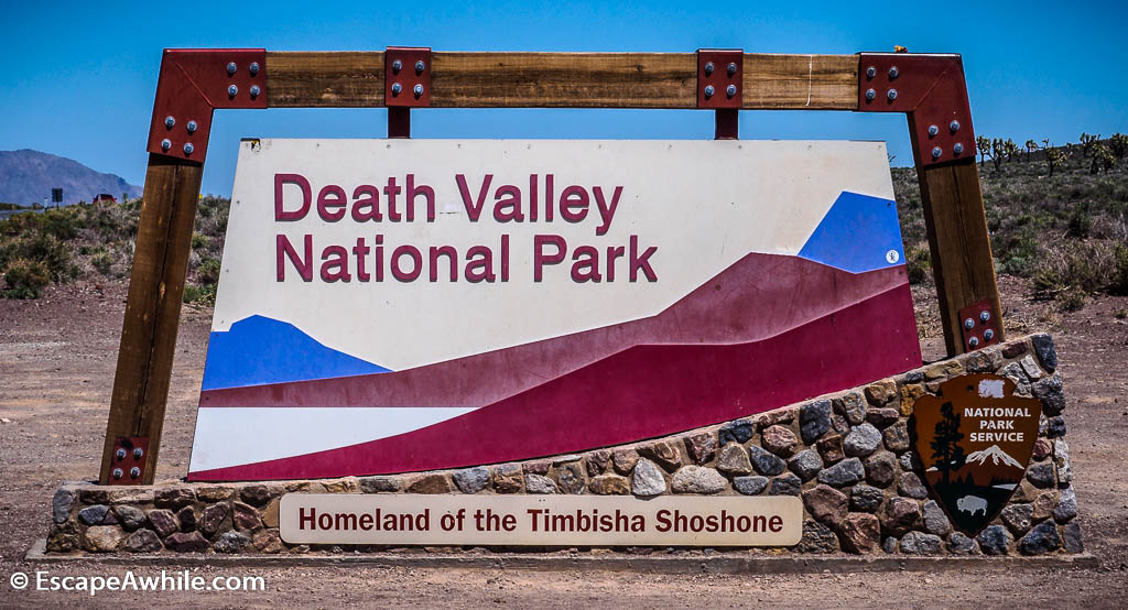 Death Valley NP entry sign.