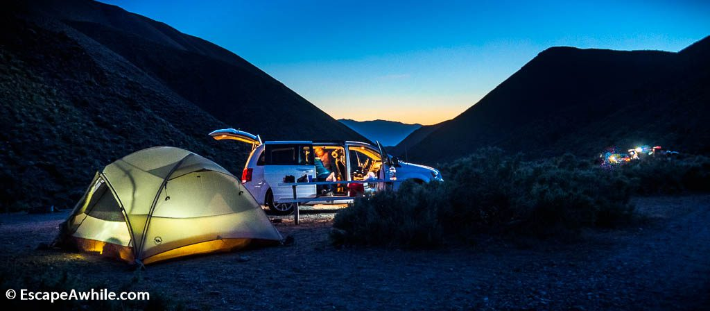 Wildrose Campground, our lodging of choice in the Death Valley. Not only it is free, but it is also at 2000 ft / 600 vertical meters above the valley floor, and thus about 15C cooler than any of the paid campgrounds down  in the valley.