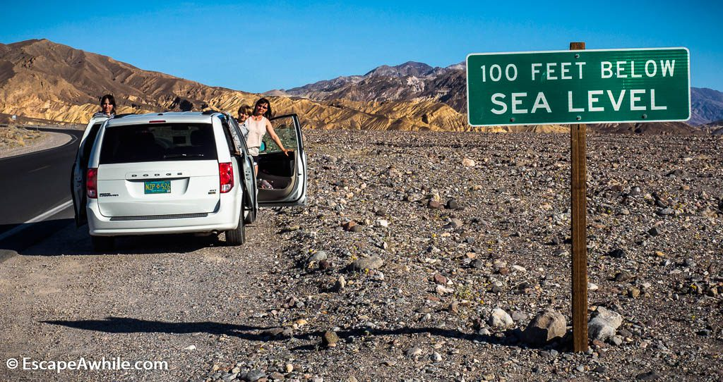 Road dropping down to Badwater basin, Death Valley NP.