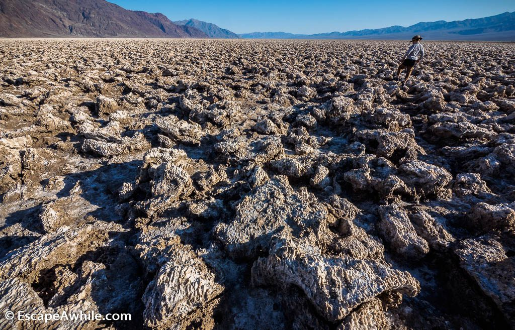 Salty ground of the Devil's Golf Course - short turn off the main Death Valley road.