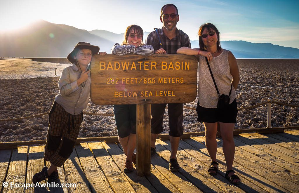 As the sign says: Badwater basin, at 85.5 meters below sea level the lowest point in US.