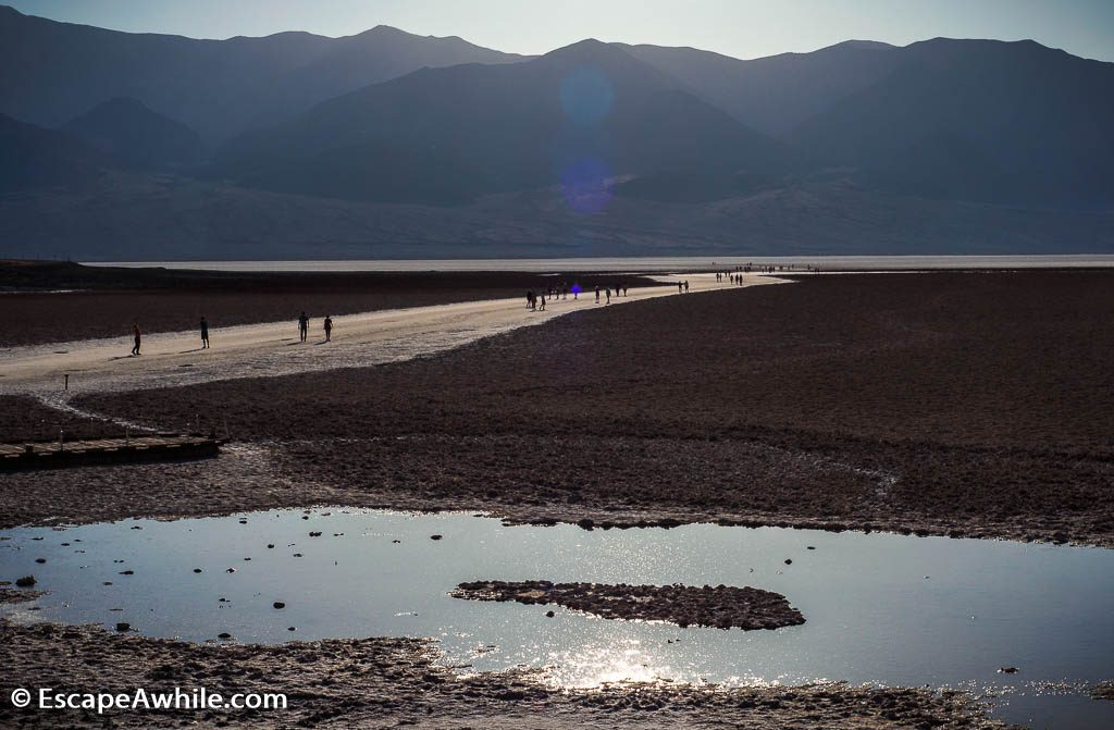 Badwater basin, the lowest point in US at sunset.