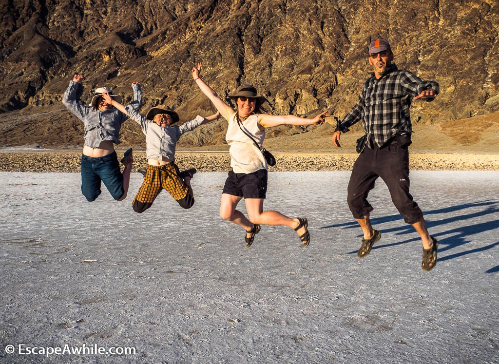 Zero gravitation on the the lowest point in US caught dad by surprise :-) Badwater basin, Death Valley.