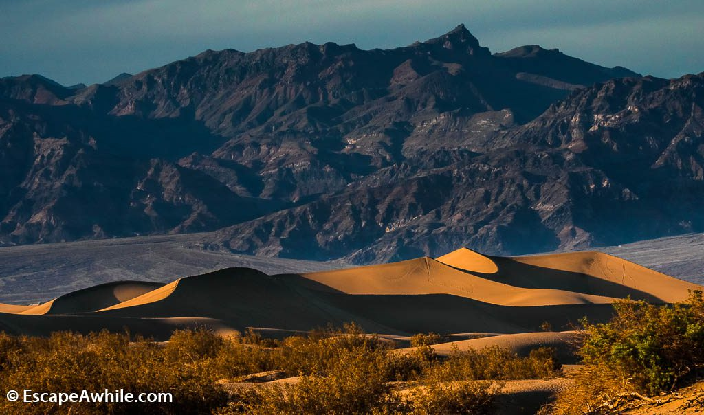 Mesquite Flat sand dunes in the sunset, Death Valley NP