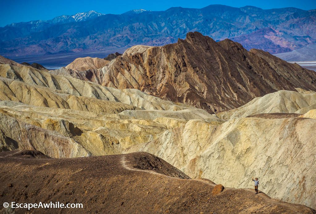 Views back over Golden Canyon from near the Red Cathedral, Death Valley NP.
