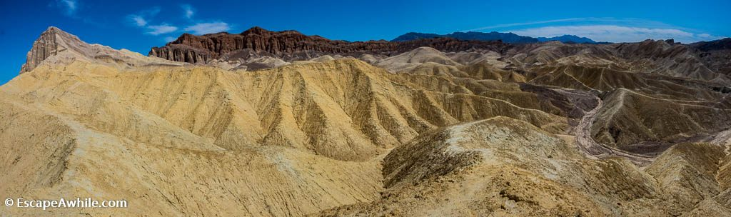 Panorama towards Golden Canyon, with Manly Beacon and Red Cathedral rocks on the horizon. Death Valley NP.