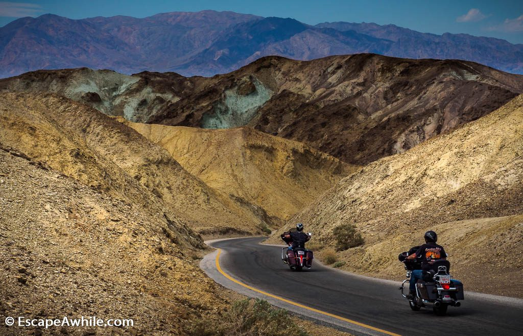 Artist drive, 9 mile / 15 km one way winding road amongst colourful rocks, Death Valley NP.