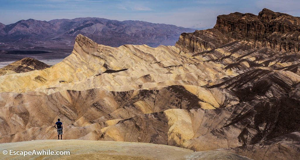 Morning views from the Zabriskie point towards Manly Beacon and Death Valley.