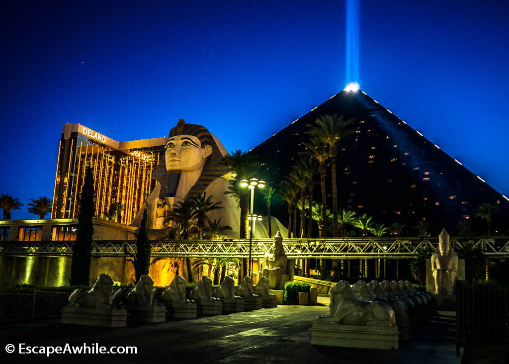 Egyptian themed Luxor Casino, Las Vegas, complete with the pyramid and Sphinx statue for the entrance.