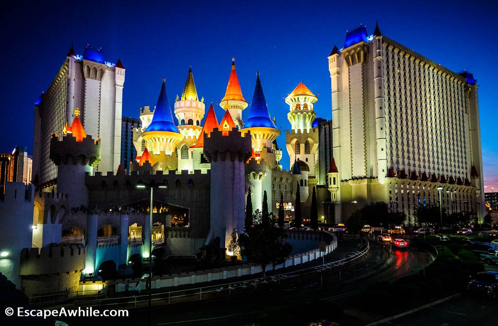 Disney castle like Excalibur Hotel and Casino, Las Vegas