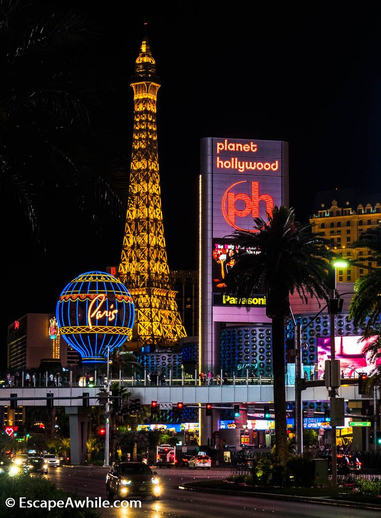 Scaled down Eiffel Tower marks the Paris Las Vegas Hotel and Casino entrance.