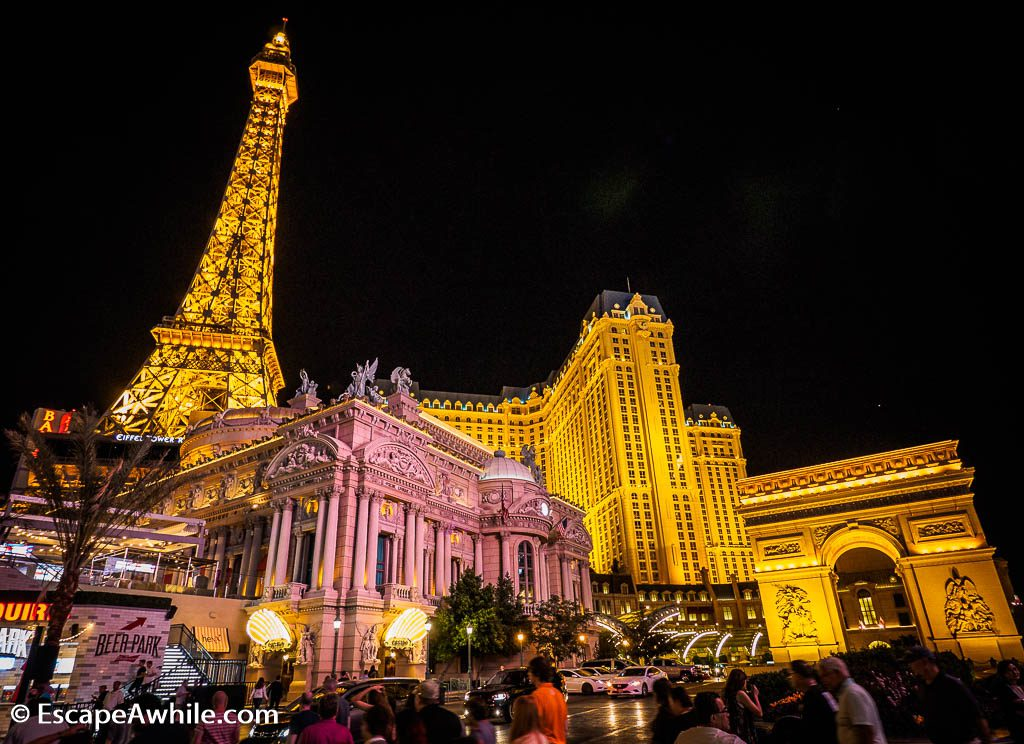Paris Las Vegas Hotel and Casino entrance with scaled down Paris landmarks.