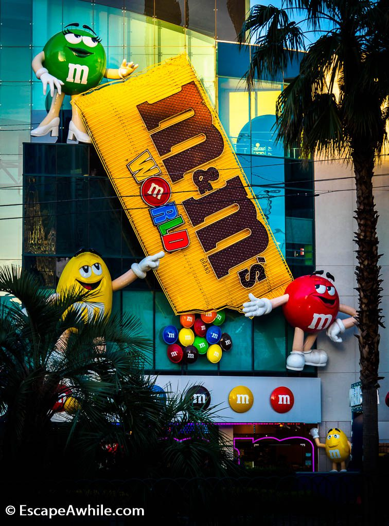 M&M World, Las Vegas, four stories full of M&M chocolates and souvenirs.