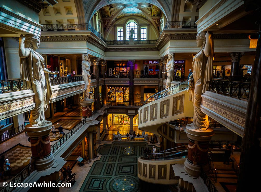 Roman themed interior of shopping mall at Caesar Forum shops, Las Vegas