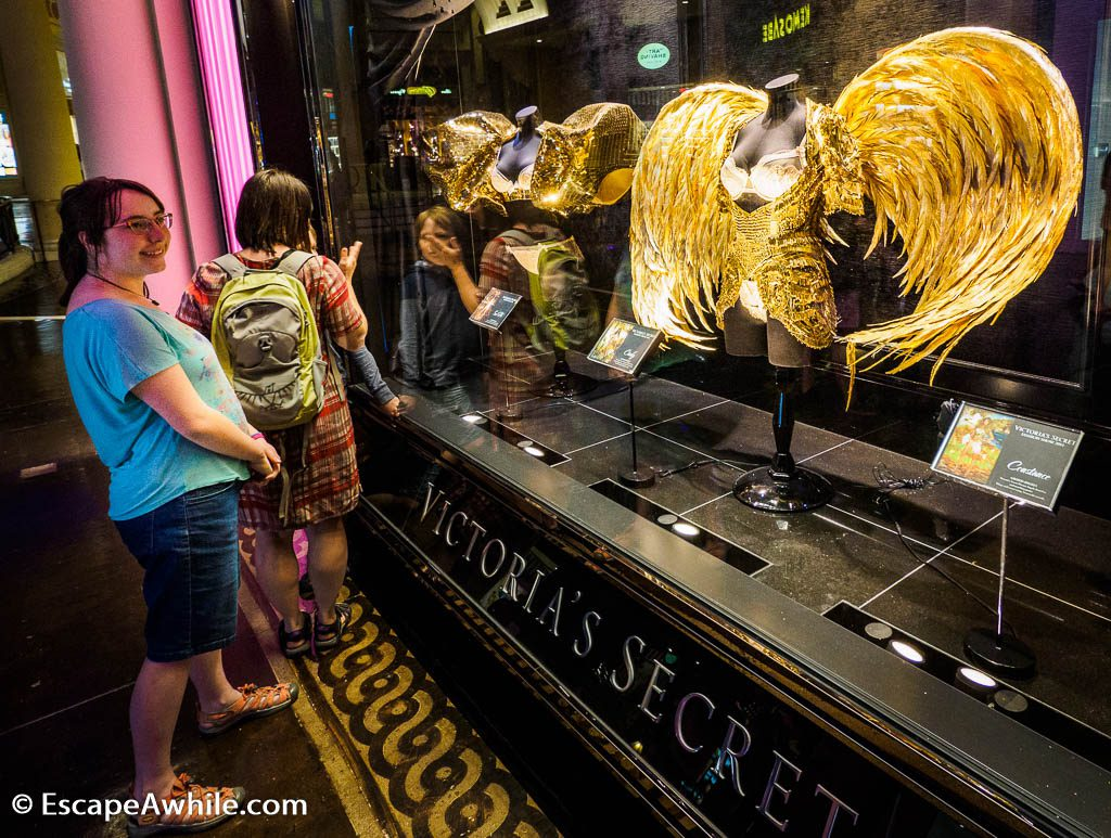 Lavish costumes to present Victoria's Secret underwear on catwalk, Caesar Forum shops, Las Vegas