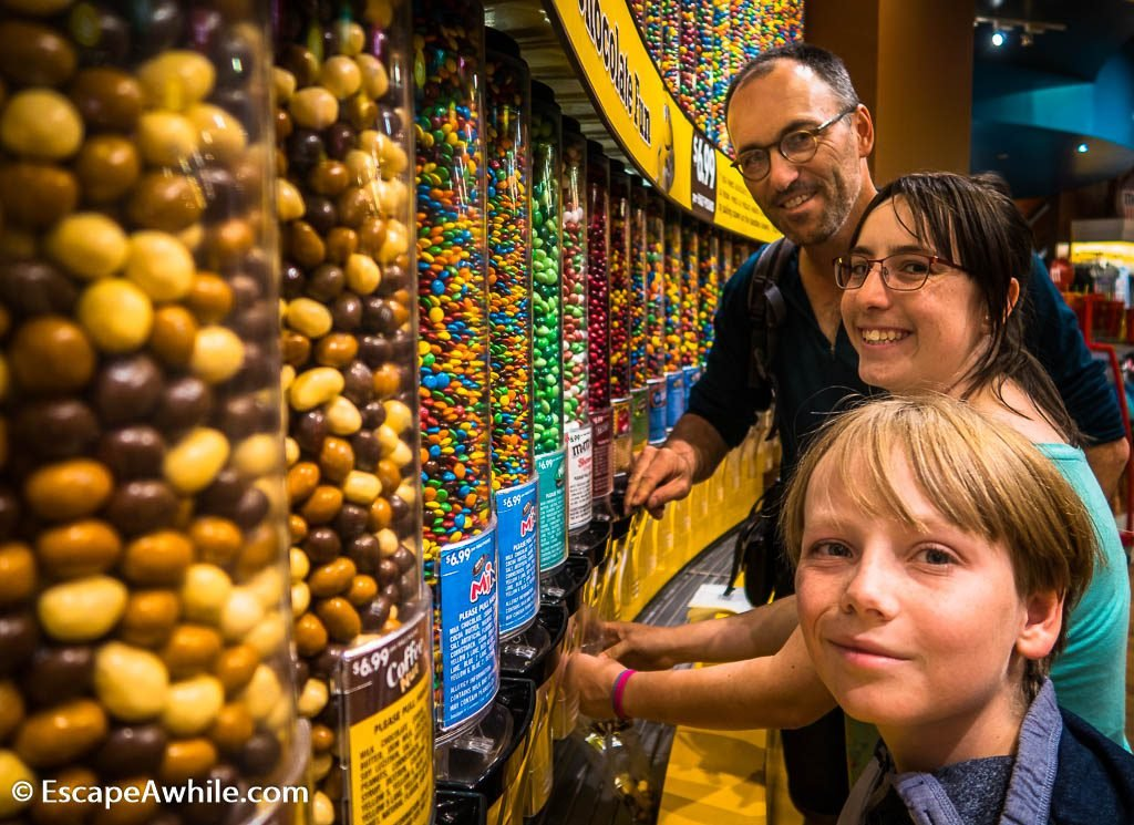 Get your chocolate fix at M&M Chocolate wall, M&M World, Las Vegas