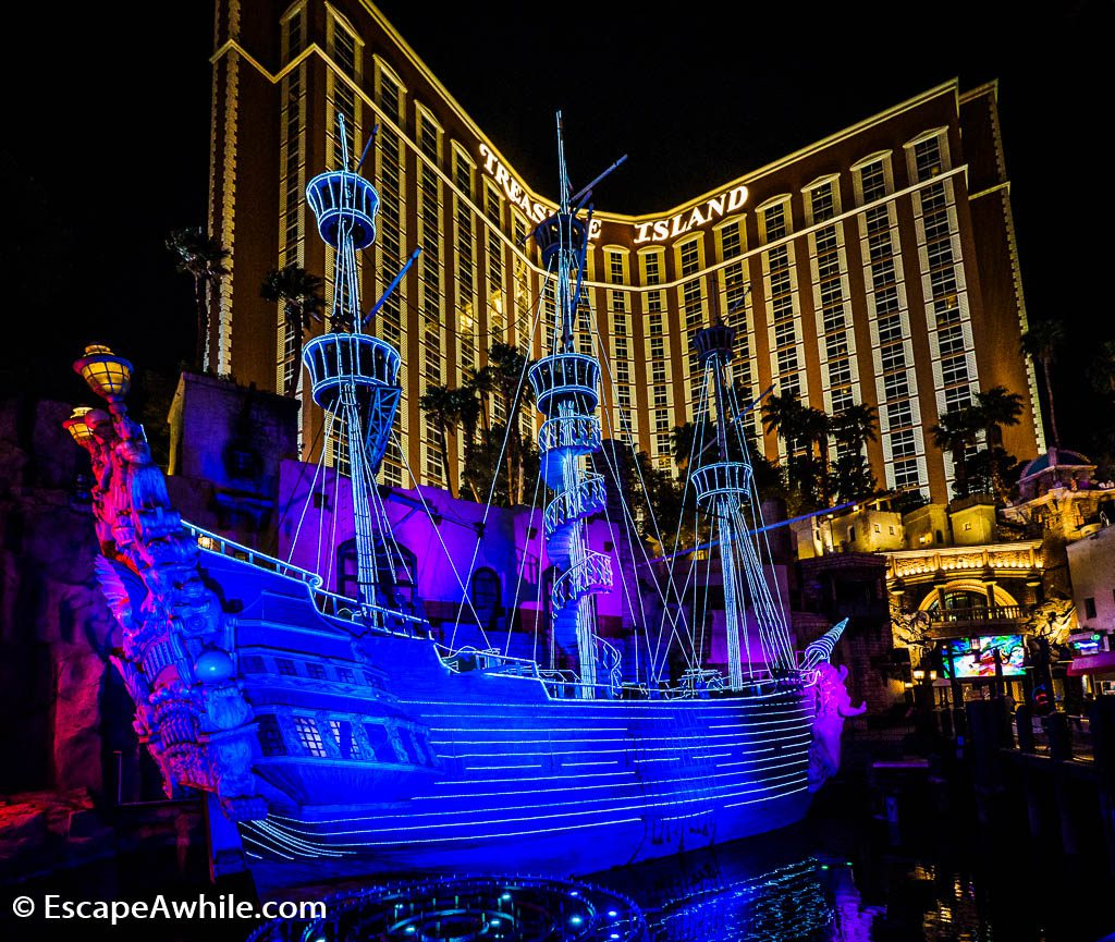 Treasure Island hotel in Las Vegas, complete with a pirate shipwreck.