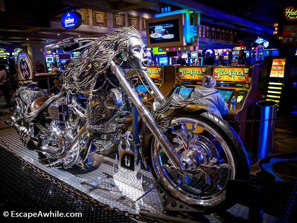 Many motorcycle themed artworks are displayed throughout city. This one is inside Treasure Island Casino, Las vegas.