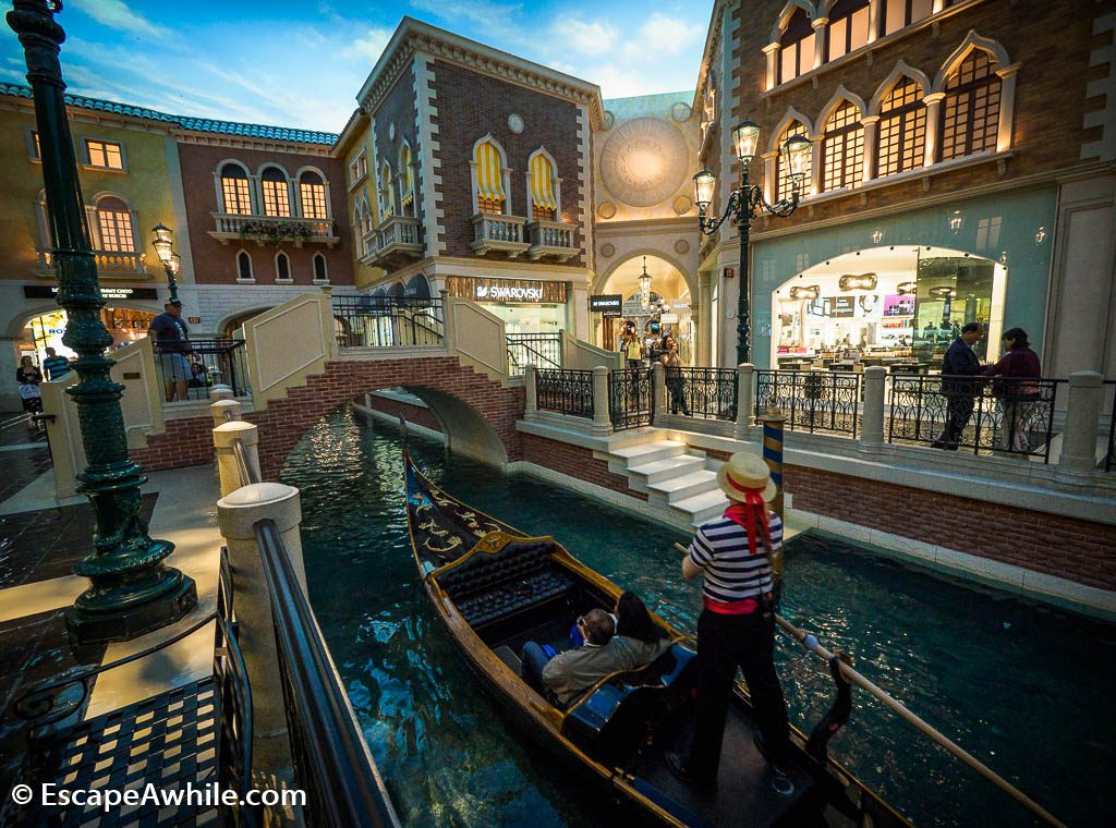 Grand Canal shopping mall in Venetian Hotel, Las Vegas, complete with gondola rides. I wonder if the Venice gondolas are also powered by motor, these days?