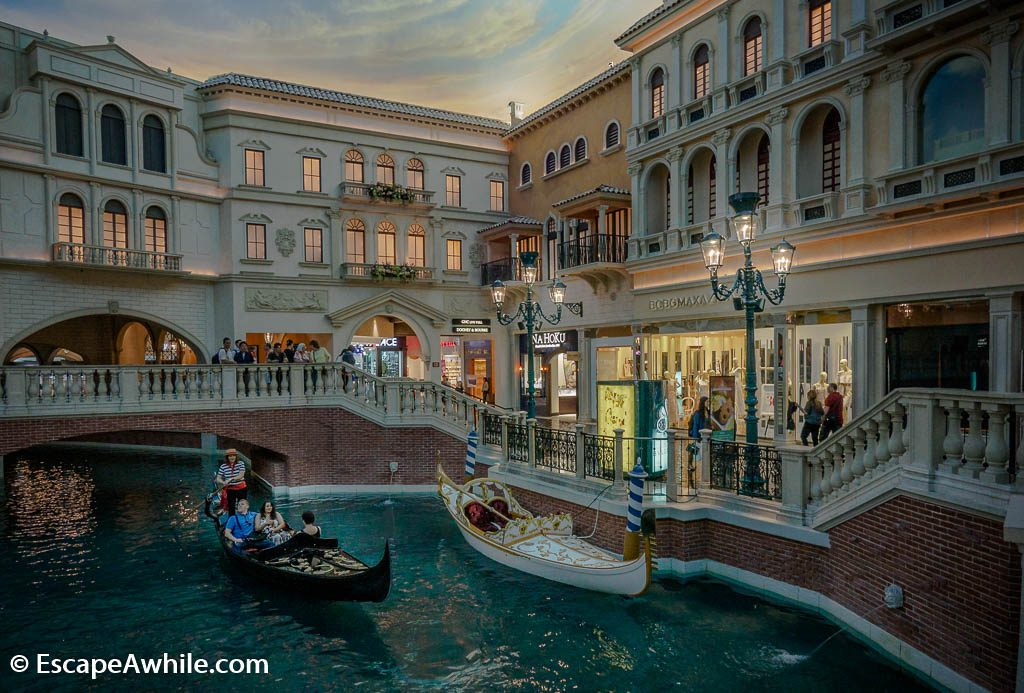 Grand Canal shopping mall in Venetian Hotel, Las Vegas, complete with gondola rides.