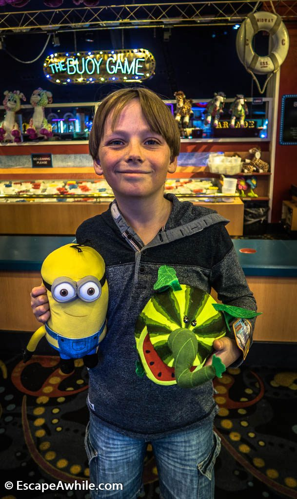 Tobias and his plush prizes, Midway hall at Circus Circus casino.