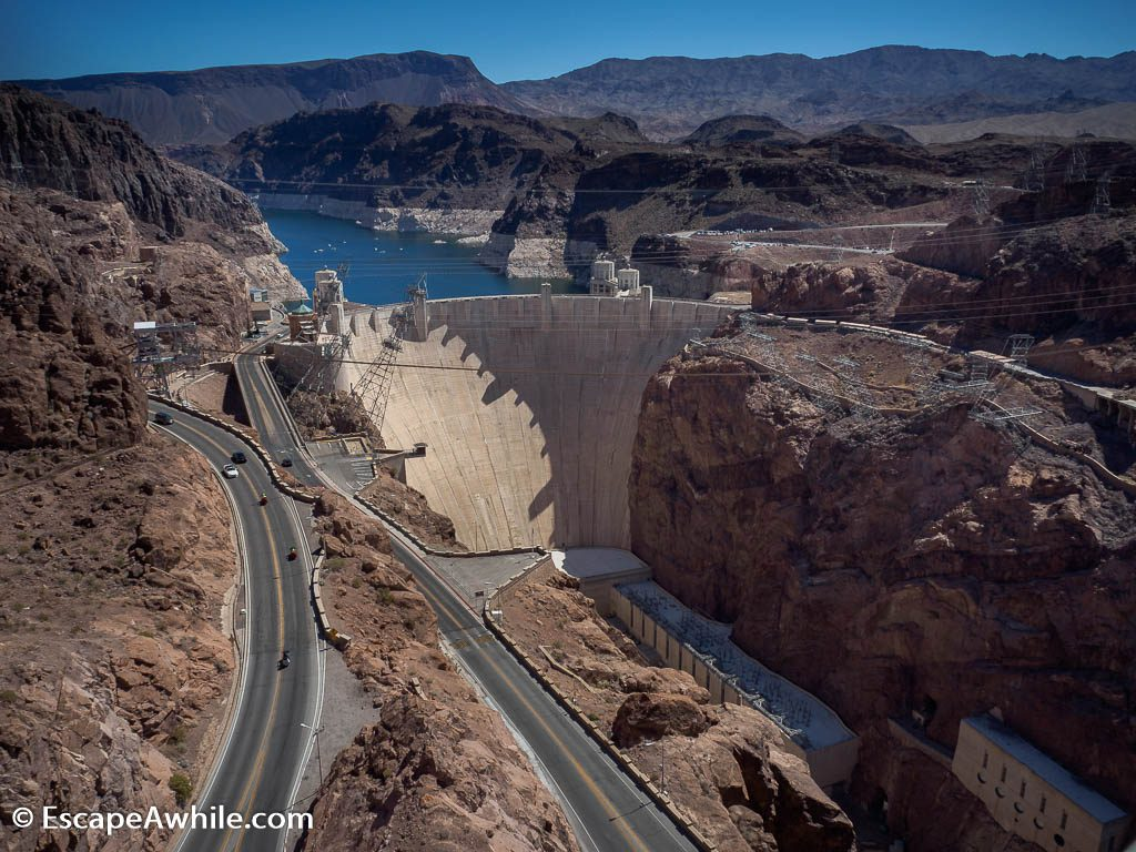 Hoover Dam on Colorado River, the highest dam in the world when completed in 1935