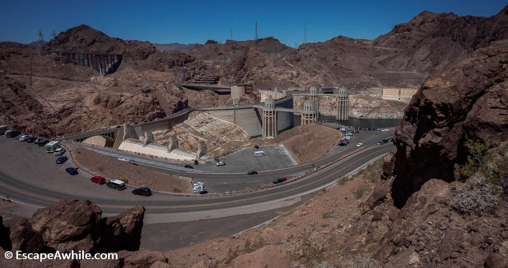 Overview of the Hoover Dam visitor access and parking.