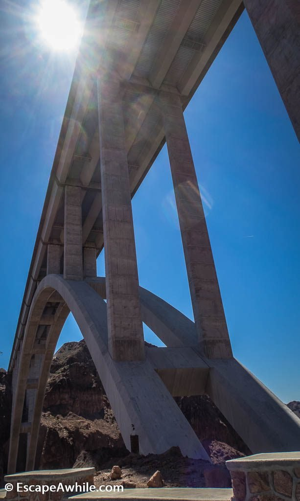 View of the bypass bridge. Until the bridge was completed in 2010,  all the interstate trafic was traveling over the Hoover dam, causing significant bottleneck on otherwise dual lane highway.