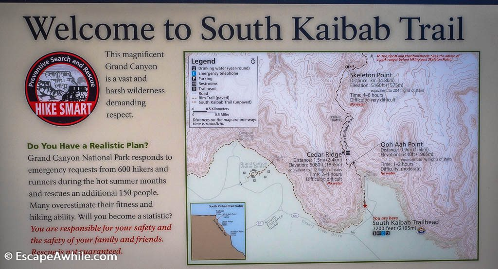Welcome sign at South Kaibab Trail, South Rim, Grand Canyon, Arizona, USA
