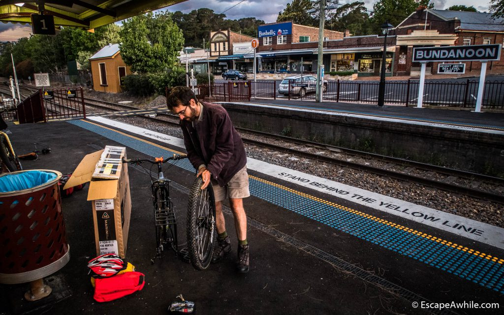 Building the bikes at the train station