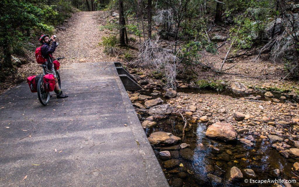 Crossing Crankeys Creek on a fancy concrete ford, Griffins fire trail