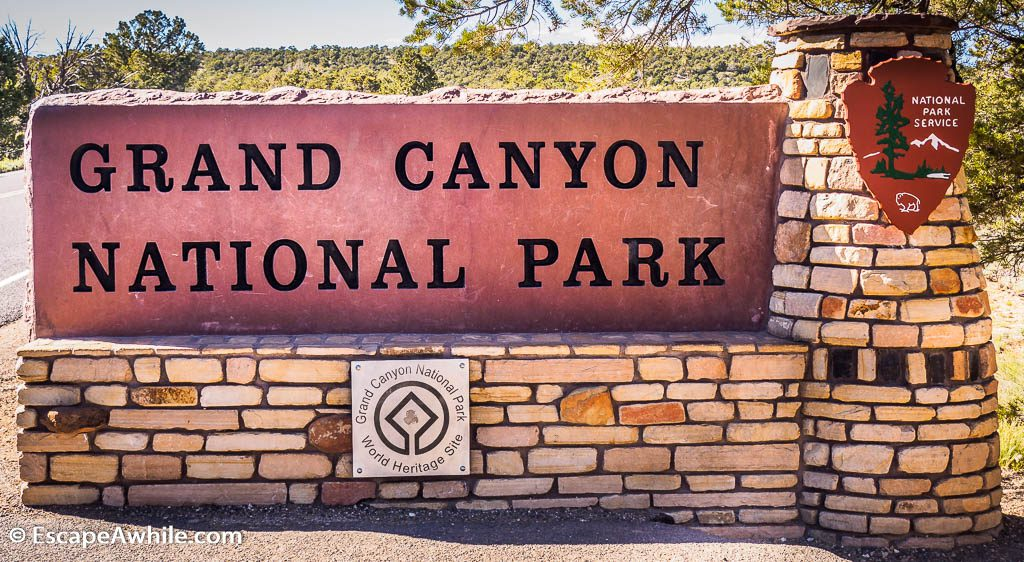 Grand Canyon national park entry sign.