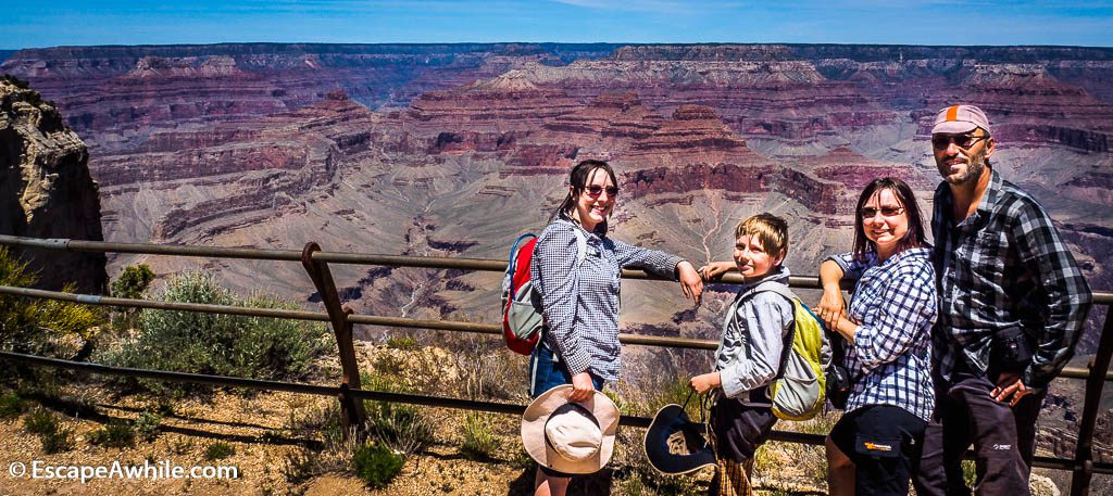 Proof that we have been there! Family photo at Monument Creek Vista, Grand Canyon South Rim, Arizona
