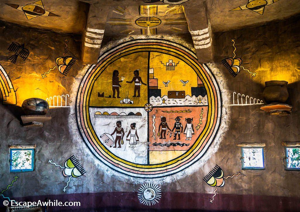Navajo mural inside the Desert View watch tower, Grand Canyon South Rim, Arizona, USA