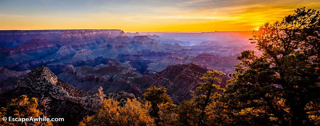 Sun rising at Grandview Point, Grand Canyon South Rim, Arizona, USA