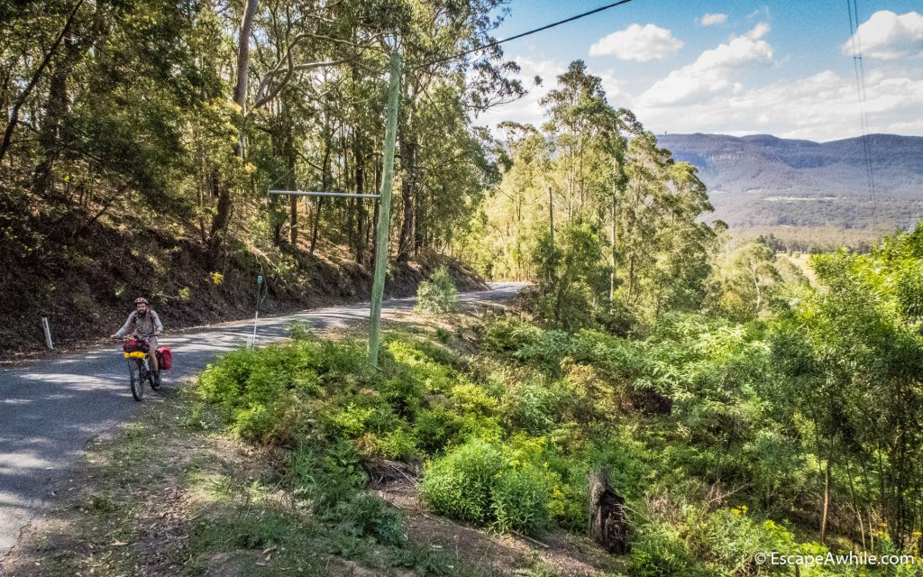 Climbing out of Kangaroo Valley on the Mt. Scanzi Road