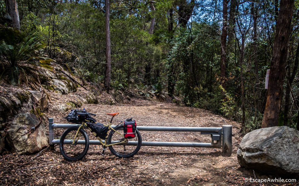 Finally at the top - locked gate at Yarramunmun fire trail.