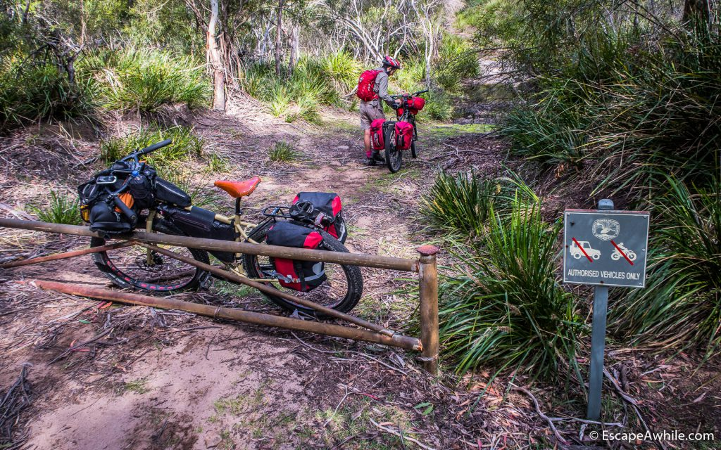Start of the Red Ground track - a locked gate and crossing of the Endrick River