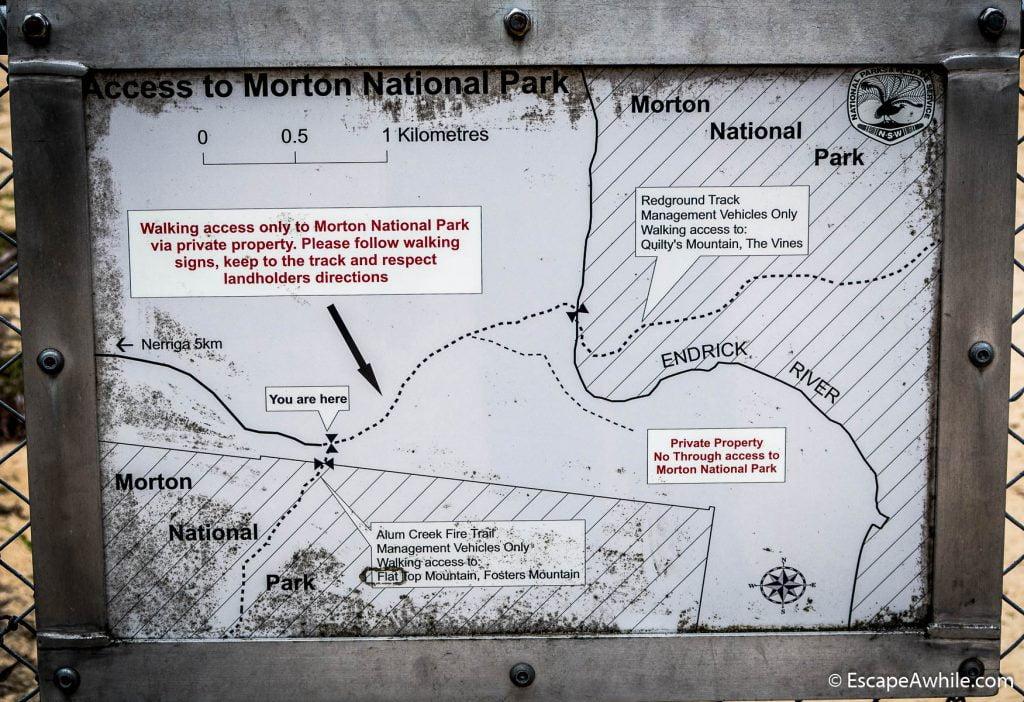 Sign explaining public acess to the Morton National Park