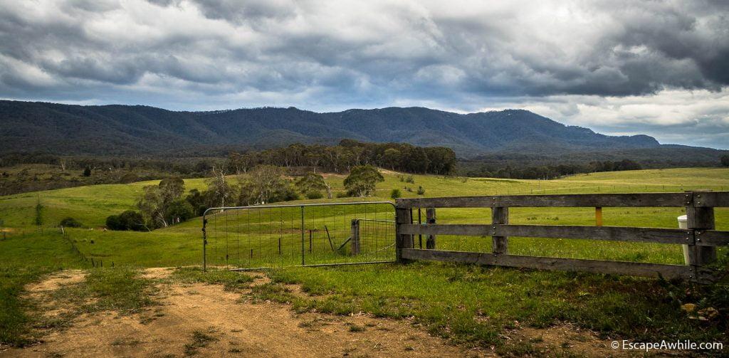Farmland and mountain scenery