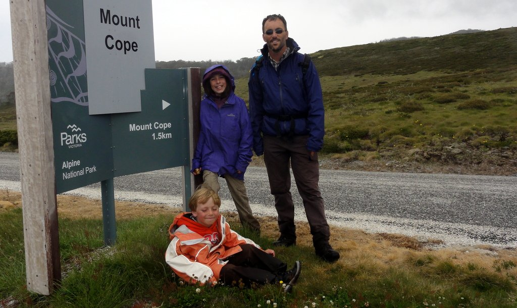 Mt. Cope Circuit - sign on the road at the start/end of walk