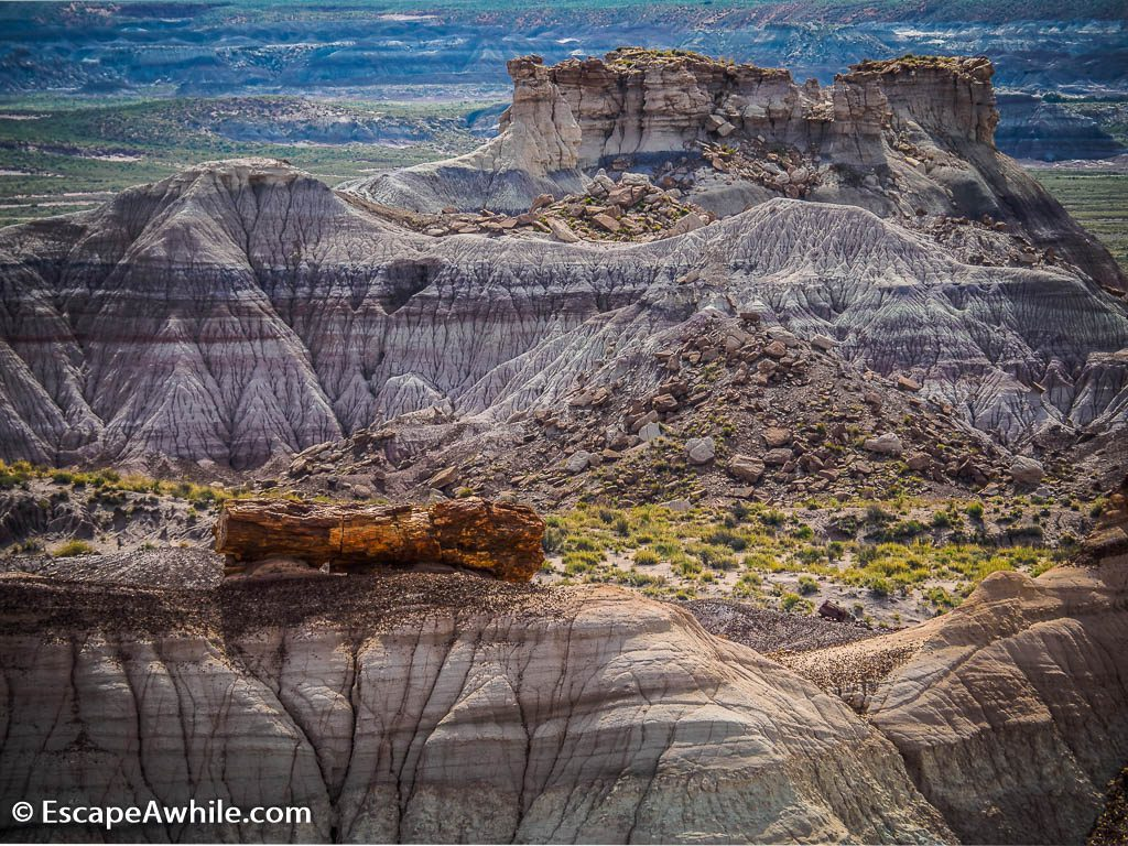 Blue Mesa, an ancient mud eroded in colourful layers.  A hard stone  log had capped the hill and prevented it to erode away completely.