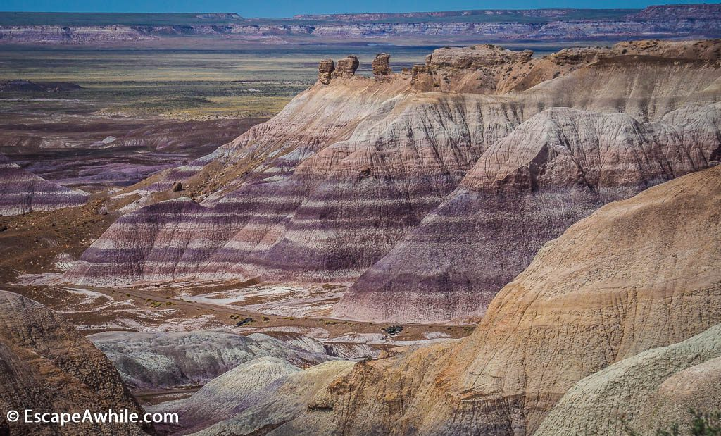 Colourful layers of Blue Mesa. Petrified Forest National Park