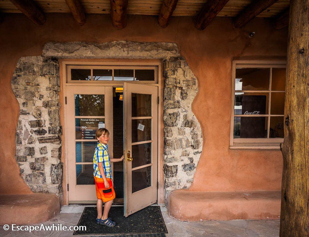 Doorway showcasing the petrified wood.  Stone stumps were the original building material of the Painted Desert Inn.