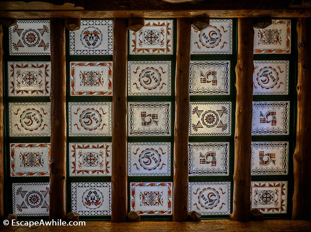 Elaborate ceiling window in the Painted Desert Inn.