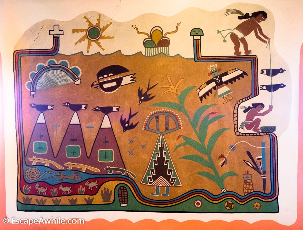 Wall murals in the Painted Desert Inn were painted by a renowned Hopi artist Fred Kabotie.