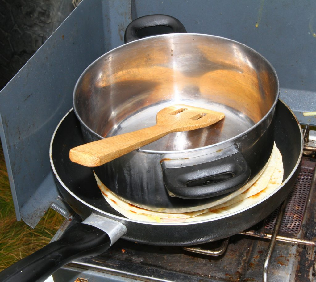 Camping tortillas - frying