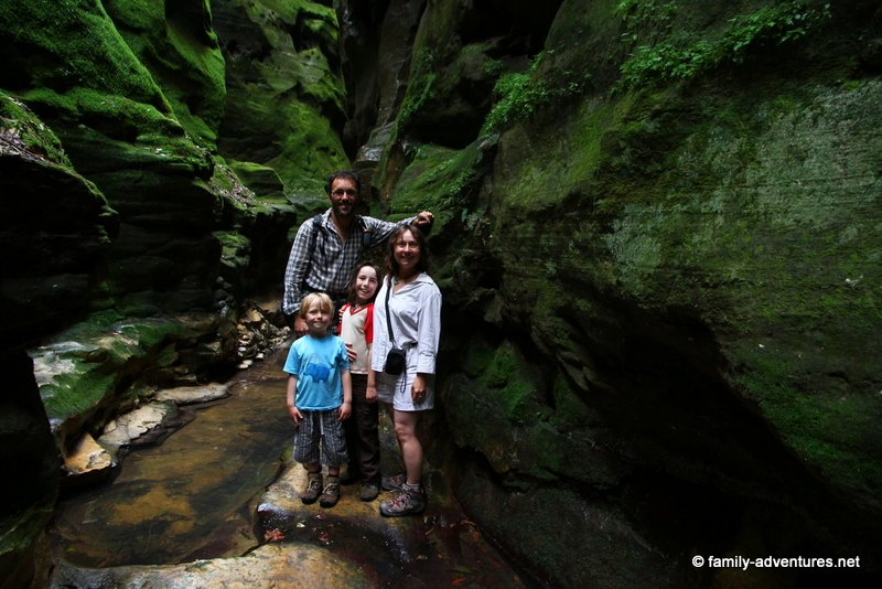 Family inside Warrumbah Creek Gorge